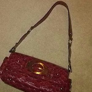 Guess shiny dark red purse